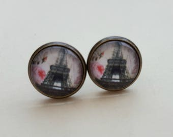 Eiffel Tower earrings, Paris glass cabochon studs, antique bronze setting vintage inspired