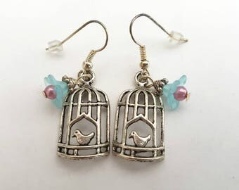 Birdcage earrings, vintage inspired silver bird cage charm and blue flower earrings