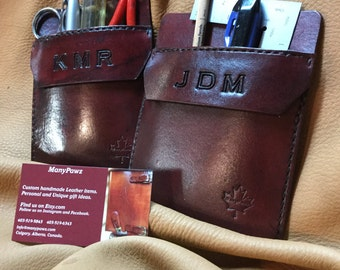 Customize your Leather Pocket Protector for pants, lab coats, etc.