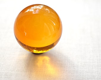 """Huge Glass Ball 39mm 1 1/2"""" Large Honey Yellow Marble Big Glass Marble Vintage Marble Colorful Crystal Ball Sphere Collectors Marble + Stand"""