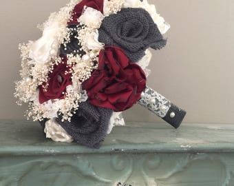 Beautiful cranberry satin and charcoal burlap bouquets with babys breath and pearl accents(listing is for one bridal bouquet)