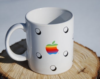 VINTAGE Rainbow Apple Computer Mug