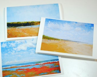 Set of three greeting cards Omaha beach landscapes Normandy oil anniversary birthday wedding cards blank interior valentine's day