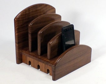 Walnut Charging Station- CA Double Tech Bed - Universally compatible Phones, Laptops, Tablets, Power Cords,  2 tb - dc  - rd wlnt -simo rts