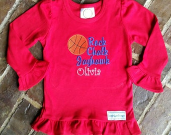 KU Rock Chalk Jayhawk shirt for Girl or Boy with name