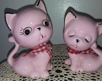 Vintage Pair of Pretty Pink Kitten Cat Figurines 1950s