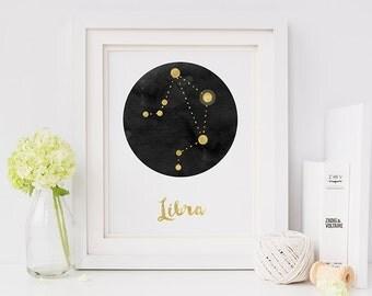Zodiac print - zodiac - zodiac libra - star sign - libra - horoscope print - constellation print - constellation - personalised gift
