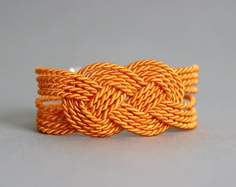 Orange Rope Bracelet, Sailor Knot Bracelet, Nautical Rope Bracelet,Adjustable Twisted Rope Bracelet, Rope Jewelry, Tie Knot Bracelet, Orange