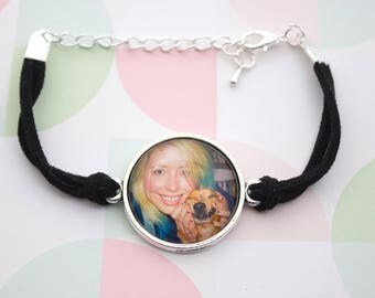 Custom Photo Bracelet - Personalized Bracelet - Circle Photo Bracelet - Antique Silver Bracelet - Photo Jewelry - 25 mm / 1 in Circle