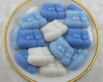 28 Blue & White Baby Bootie Shaped Sugar Cubes for Baby Shower, party favor