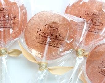 ROSÉ LOLLIPOPS, Made with Real Rosé Wine, Rose Lollipops, Rosé Wine, Sparkle Lollipops, Sweet Caroline Confections: 10/Set
