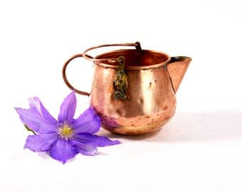 Small Copper Bucket, Copper Watering Can, Copper and Brass Bucket, Scuttle Bucket, Rustic Watering Can, Metal Watering Can, Copper Pail