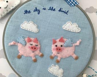 Flying Pigs Embroidery Hoop Wall Art, Felt Linen Wall Art, Nursery Decor, Home, New Baby Child Gift