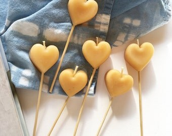 Beeswax Heart Candles