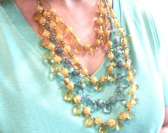 Statement Necklace, Multi Strand Briolette Necklace, Bib Necklace, Blue and yellow briolette necklace