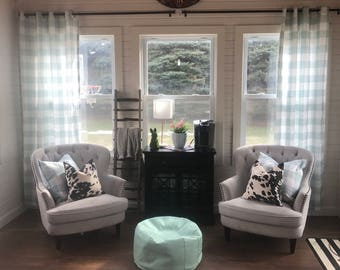 1 Pair of Soft Blue Designer Fabric Curtains for Bedrooms, Kitchens, Living rooms, Kids, and Nurseries New Shop special