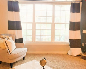 2 DAY Sale Custom Black and White Striped Curtains Stripes