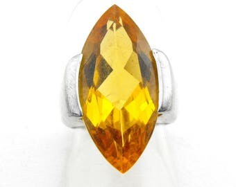Huge Statement Marquise Cathedral style Ring SS size 6.25