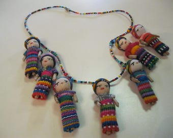 Guatemalan Worry Doll Necklace, Beaded Necklace w/Colorful Dolls, Junk Journal Doll Charms, Junk Journal/Mixed Media Supply