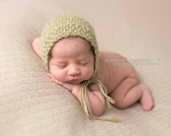 Sage Newborn Bonnet • Sage Baby Bonnet • Sage Infant Bonnet • Green Baby Bonnet • Sage Baby Hat • Sage Newborn Hat • Sage Newborn Photo Prop