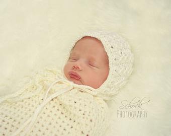 Ivory Newborn Bonnet • Baby Shower Gift • Newborn Photo Prop • Baby Bonnet • Ivory Baby Bonnet • Cabled Newborn Bonnet • Ivory Lace Bonnet