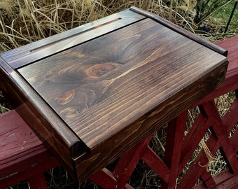 Amish Made School Desk and Writing Box with Black Walnut Stain 15 x 11 x 4