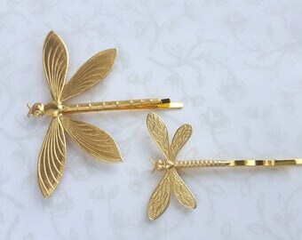 Dragonfly Bobby Pins, Gold Brass, Set of 2, Large & Small Hair Pins, Woodland, Garden, Summer, Nature, Boho, Wedding, Mommy and baby