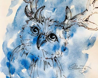 Watercolor Blue Owl, Limited Edition Art Print, Watercolor Owl Painting, Blue Owl Ink wash,  Owl with Antlers, Ink Sketch, Watercolor Owl