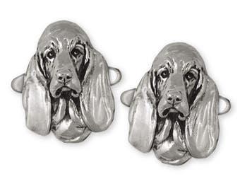 Basset Hound Cufflinks Jewelry Sterling Silver Handmade Dog Cufflinks BAS2-CL