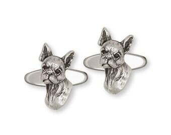 Boston Terrier Cufflinks Jewelry Sterling Silver Handmade Dog Cufflinks BT7-CL