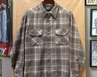 Vintage Pendleton Shirt Made in USA Beige Brown Light Blue Plaid Size Large 1970's 1980's