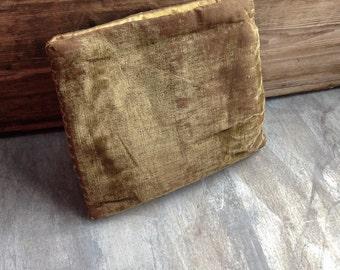 Antique Vintage Velvet Needle case Sewing Pouch Keepsakes Handstitched Victorian