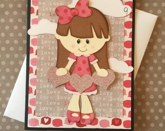Valentine Card, Cloud 9, PreMade, Die Cut, Paper Piecing, Friends, Wife, Husband, Girl, Heart, Handmade