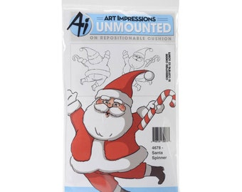 SANTA SPINNER Spinners Cling Stamp by Art Impressions  4678 cc22