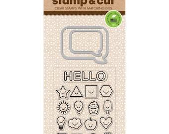 "Hero Arts Stamp & Cut EVERYTHING SMILES clear 3""x4"" Stamp with metal Die set - DC194 cc02"
