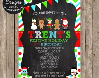 Christmas Birthday Invitation - Christmas Party Invitation - Holiday Themed Birthday- Holiday Party - DIY Printable - Cocoa - Candy Canes