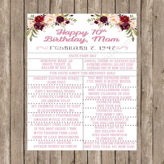 Floral Birthday Sign - Romantic Flowers - Gorgeous Blooms - Milestone Birthday Sign - Birthday Stats - Maroon - Plum - Blush - Printable