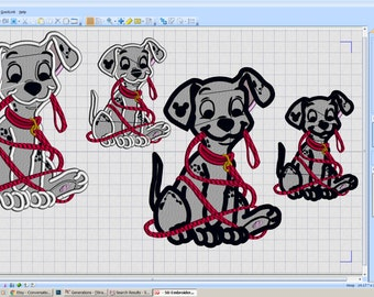 Embroidery Iron-on Patch - Dalmatian Dog with leash - iron-on