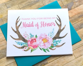 Rustic Maid of Honor Thank You Card - Antler Thank You For Being My Maid of Honor Card - Wedding Thank You Cards - Bridesmaid - RUSTIC LOVE