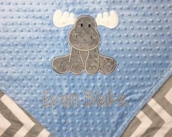 Personalized Baby Blanket, Moose Minky Baby Blanket, Chevron Minky, Custom Blanket, Made to Order