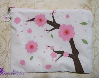 Zipper Pouch - Hand Painted Cherry Blossoms OoaK