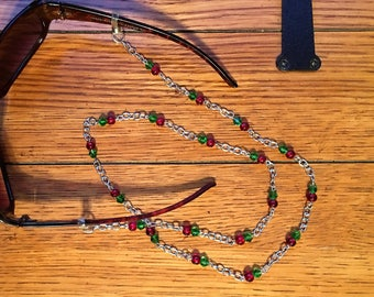 Eyeglasses Chain. Red and Green Glass Bead. Silver chain.