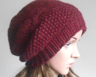 Burgundy Red Chunky Wool Hat. Slouchy Hat. Hand Knit Hat. Winter Woman Hat. Oversized Beret.