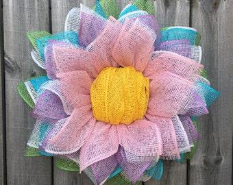 Sunflower Wreath, Spring Wreath, Easter Wreath, Front Door Wreath, Spring Decor, Easter Decor,  Summer Wreath, Burlap Wreath, Handmade Gift