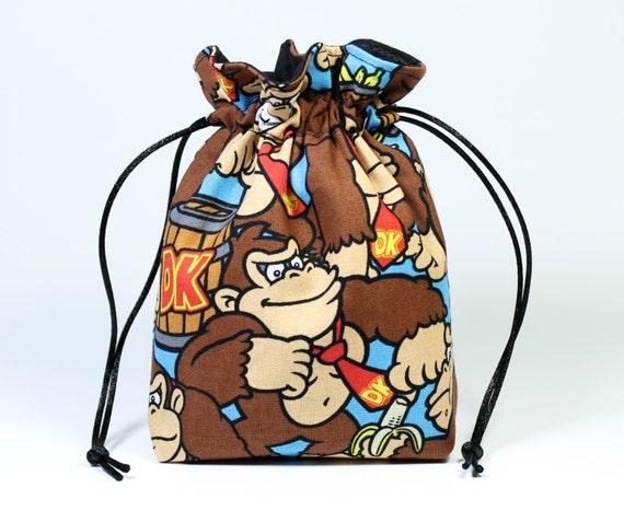SALE Donkey Kong Drawstring Bag, Dice Bag