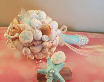 Xo bouquet seashell bouquet boutonniere