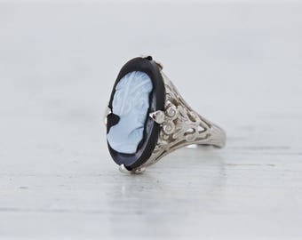 SALE Black Onyx Ring | Cameo Ring | 14k White Gold Ring | Edwardian Inspired | Gemstone Ring | Dainty Filigree Ring | Gifts for Her | Size 5