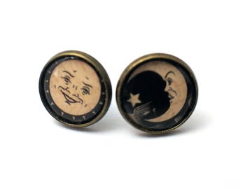Sun/Moon Ouija Board Symbols 12mm bronze stud earrings