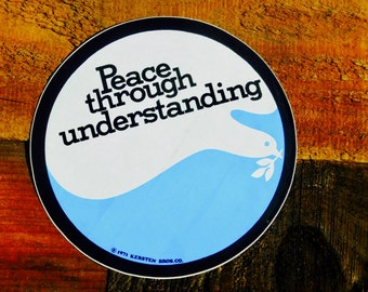 Vintage LG 70s Peace Through Understanding Vinyl Sticker
