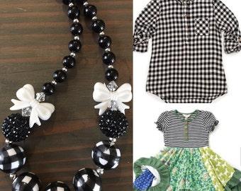 Matilda Jane Inspired Bubblegum Necklace-Chunky Necklace-Gingham-Black-White